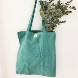 sac femme en toile ancienne bleu-vert brodé fleurs