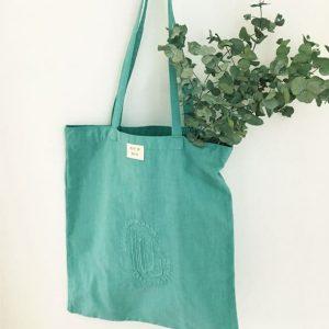 sac femme en toile ancienne bleu-vert brodé main DG
