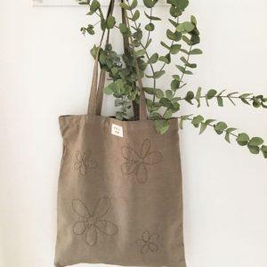 sac femme en toile ancienne teinte argile brodé main