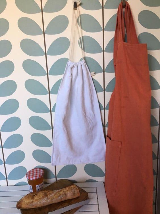 sac à pain en drap blanc ancien