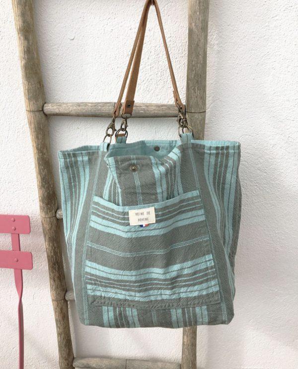 Cabas d'été en coton/lin recyclé céladon atelier Reine de Bohème