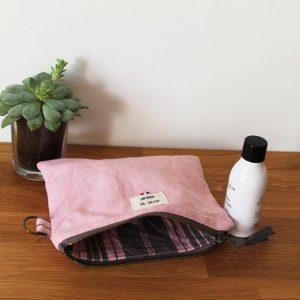 Pochette upcyclée en coton/lin recyclé rose Reine de Bohème