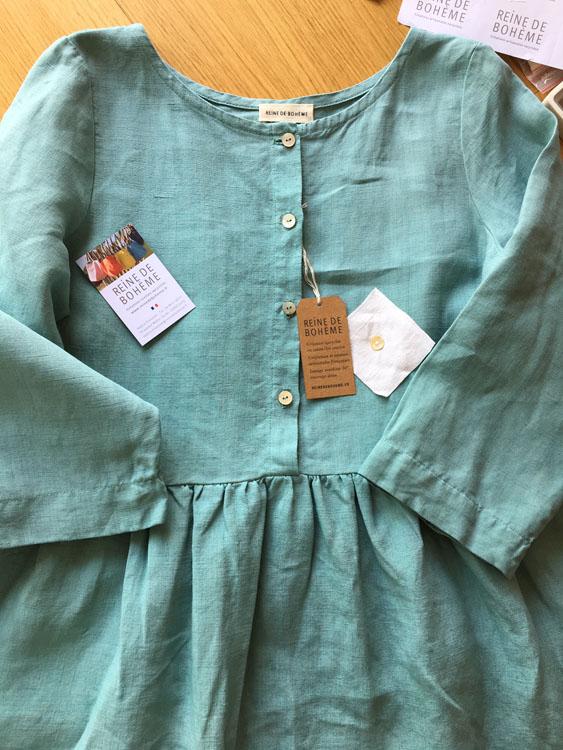 Robe made in France céladon en coton/lin ancien REine de Bohème