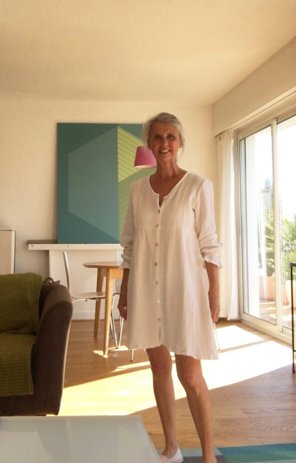 Robe femme bohème en double gaze de coton blanc crème mode éthique