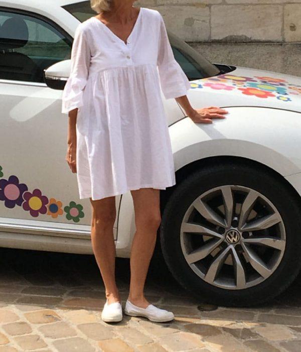 Robe made in France en voile de coton blanc Oekotex