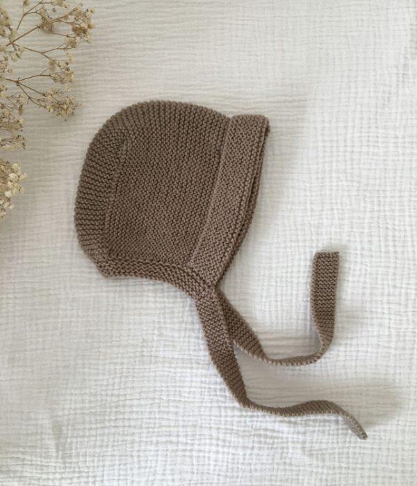 Béguin bébé Reine de Bohème taupe made in France atelier Reine de Bohème