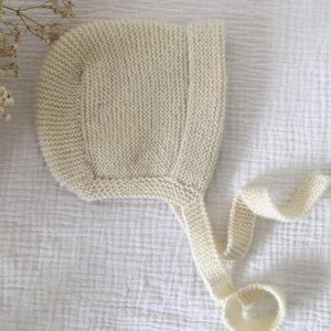 Béguin bébé naturel tricoté main point mousse made in France atelier Reine de Bohème