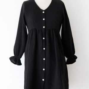 robe en double gaze de coton coloris noir made in France